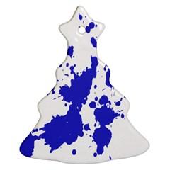 Blue Plaint Splatter Ornament (christmas Tree)