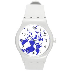 Blue Plaint Splatter Round Plastic Sport Watch (m)