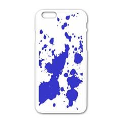 Blue Plaint Splatter Apple Iphone 6/6s White Enamel Case