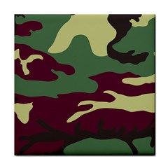 Camuflage Flag Green Purple Grey Tile Coasters