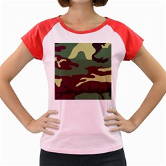 Camuflage Flag Green Purple Grey Women s Cap Sleeve T Shirt