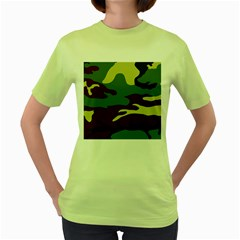 Camuflage Flag Green Purple Grey Women s Green T Shirt