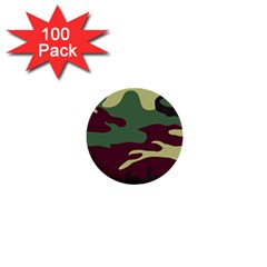 Camuflage Flag Green Purple Grey 1  Mini Buttons (100 Pack)