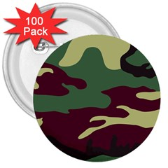 Camuflage Flag Green Purple Grey 3  Buttons (100 Pack)