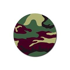 Camuflage Flag Green Purple Grey Rubber Coaster (round)