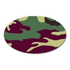 Camuflage Flag Green Purple Grey Oval Magnet