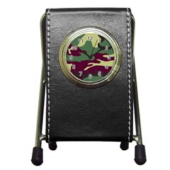 Camuflage Flag Green Purple Grey Pen Holder Desk Clocks