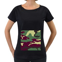 Camuflage Flag Green Purple Grey Women s Loose Fit T Shirt (black)
