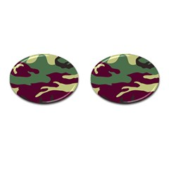 Camuflage Flag Green Purple Grey Cufflinks (oval)