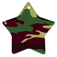 Camuflage Flag Green Purple Grey Star Ornament (two Sides)