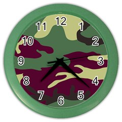Camuflage Flag Green Purple Grey Color Wall Clocks