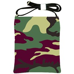 Camuflage Flag Green Purple Grey Shoulder Sling Bags