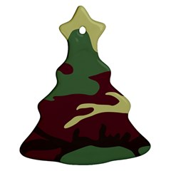Camuflage Flag Green Purple Grey Christmas Tree Ornament (two Sides)