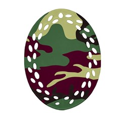 Camuflage Flag Green Purple Grey Oval Filigree Ornament (two Sides)