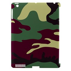 Camuflage Flag Green Purple Grey Apple Ipad 3/4 Hardshell Case (compatible With Smart Cover)