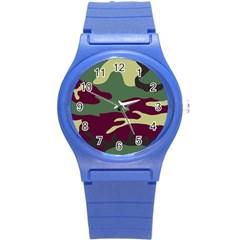 Camuflage Flag Green Purple Grey Round Plastic Sport Watch (s)
