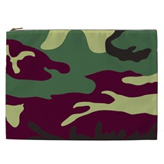 Camuflage Flag Green Purple Grey Cosmetic Bag (xxl)