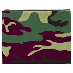 Camuflage Flag Green Purple Grey Cosmetic Bag (xxxl)