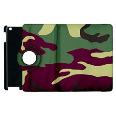 Camuflage Flag Green Purple Grey Apple Ipad 2 Flip 360 Case