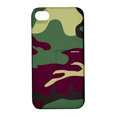 Camuflage Flag Green Purple Grey Apple Iphone 4/4s Hardshell Case With Stand
