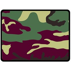Camuflage Flag Green Purple Grey Double Sided Fleece Blanket (large)
