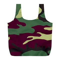 Camuflage Flag Green Purple Grey Full Print Recycle Bags (l)