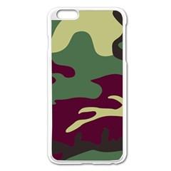 Camuflage Flag Green Purple Grey Apple Iphone 6 Plus/6s Plus Enamel White Case