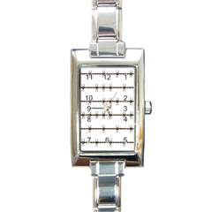 Barbed Wire Brown Rectangle Italian Charm Watch