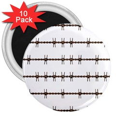 Barbed Wire Brown 3  Magnets (10 Pack)