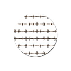 Barbed Wire Brown Magnet 3  (round)