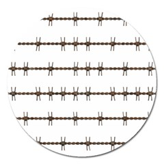 Barbed Wire Brown Magnet 5  (round)