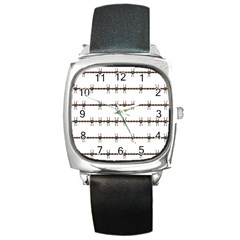 Barbed Wire Brown Square Metal Watch