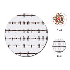 Barbed Wire Brown Playing Cards (round)