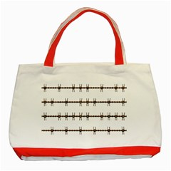 Barbed Wire Brown Classic Tote Bag (red)