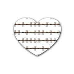 Barbed Wire Brown Heart Coaster (4 Pack)