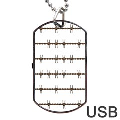 Barbed Wire Brown Dog Tag Usb Flash (two Sides)