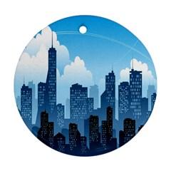 City Building Blue Sky Ornament (round)