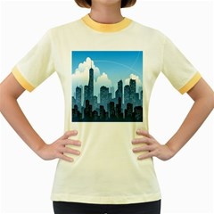 City Building Blue Sky Women s Fitted Ringer T Shirts