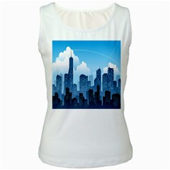 City Building Blue Sky Women s White Tank Top