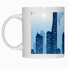 City Building Blue Sky White Mugs