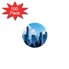 City Building Blue Sky 1  Mini Magnets (100 Pack)