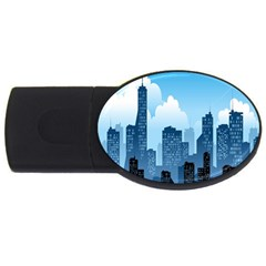 City Building Blue Sky Usb Flash Drive Oval (2 Gb)