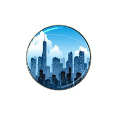 City Building Blue Sky Hat Clip Ball Marker (4 Pack)