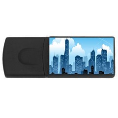City Building Blue Sky Rectangular Usb Flash Drive