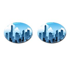 City Building Blue Sky Cufflinks (oval)