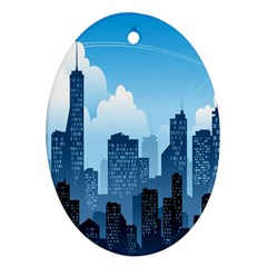 City Building Blue Sky Oval Ornament (two Sides)