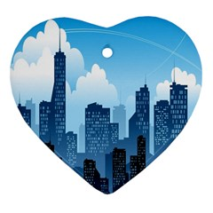 City Building Blue Sky Heart Ornament (two Sides)