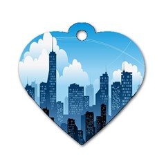City Building Blue Sky Dog Tag Heart (two Sides)