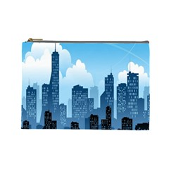 City Building Blue Sky Cosmetic Bag (large)