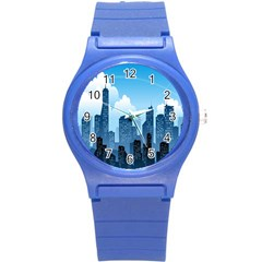 City Building Blue Sky Round Plastic Sport Watch (s)